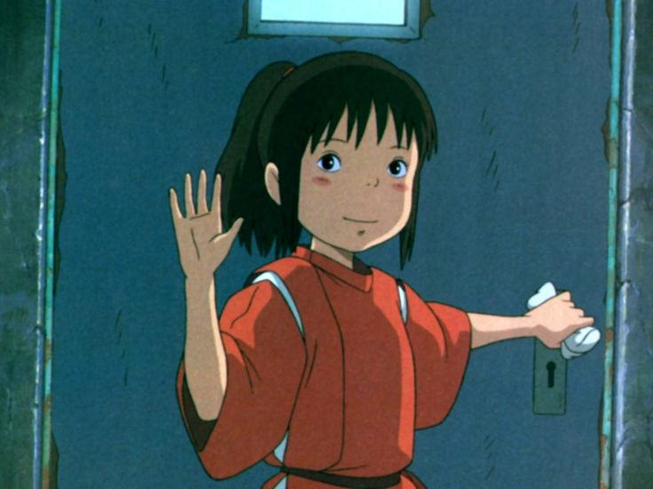 Chihiro's in her work uniform
