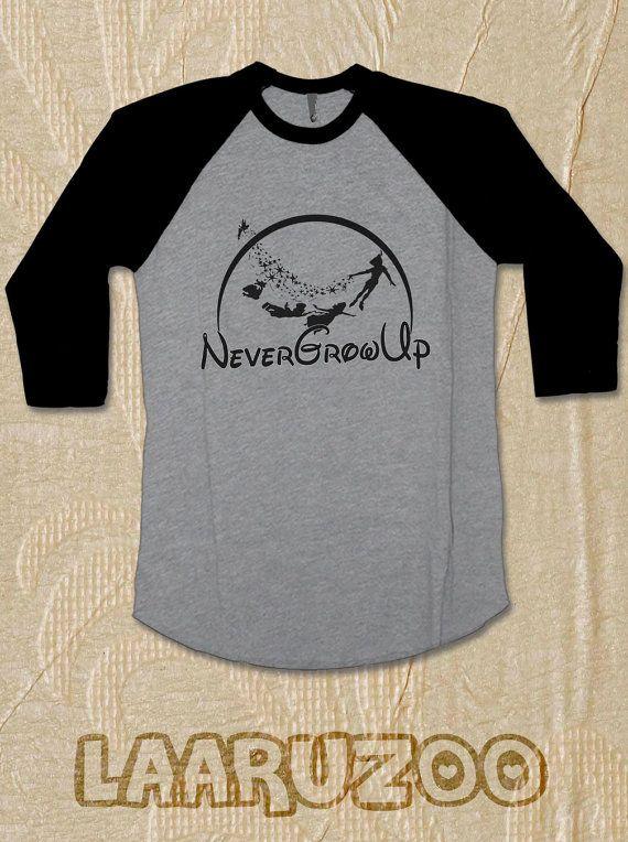 WELCOME MY SHOP :)  ** Peter Pan Shirt Raglan Tshirt 3/4 sleeves   Peter Pan Never Grow Up Shirt Baseball Shirt 3/4 Never Grow Up Short Sleeves Size