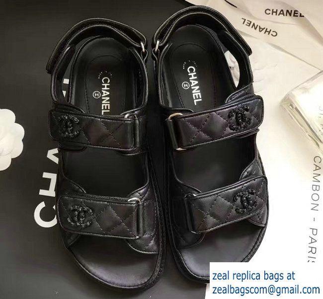 f330552d991 Chanel Sheepskin CC Logo Sandals G31848 Black 2017