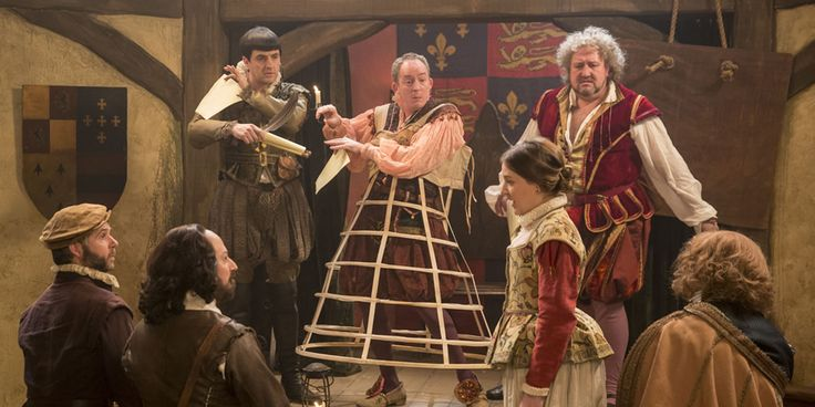 Upstart Crow. Image shows from L to R: Bottom (Rob Rouse), Will Shakespeare (David Mitchell), Kempe (Spencer Jones), Condell (Dominic Coleman), Kate (Gemma Whelan), Burbage (Steve Speirs).