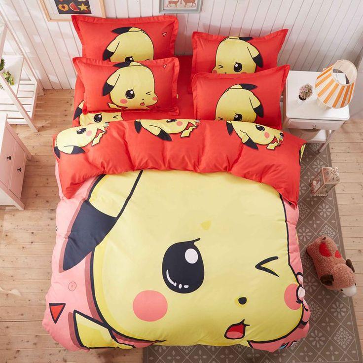 Pokemon 3D Bedding Set Pikachu Printed Duvet Cover Cartoon for Kids Bed Set Comfortable Multi Sizes 3pcs Bedclothes,No Fading#pokemon bedding set