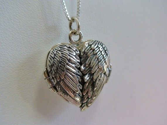 Angel Wings Locket Necklace in Sterling Silver. $54.00, via Etsy.