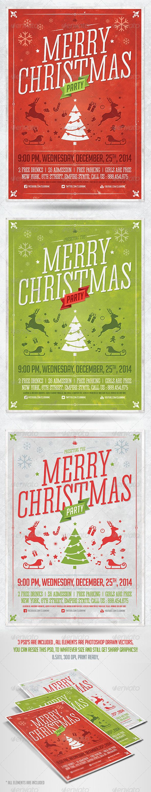 Retro Christmas Party Flyer PSD Template - Holidays Events