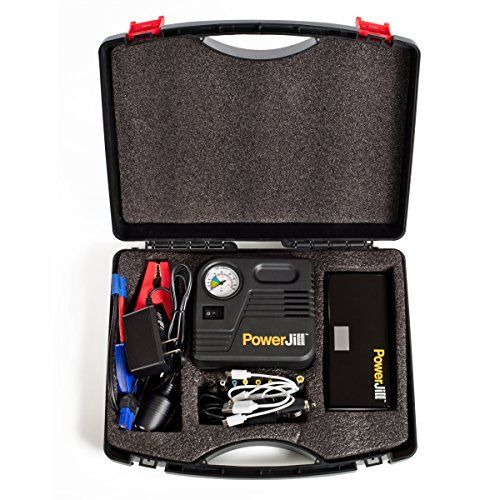 Jump Starter for Cars and Vehicles - with Air Compressor - Portable and Multi-Function - with Portable Power Bank and LED Flashlight 400A Peak Current 12000mAh by PowerJill. For product info go to:  https://www.caraccessoriesonlinemarket.com/jump-starter-for-cars-and-vehicles-with-air-compressor-portable-and-multi-function-with-portable-power-bank-and-led-flashlight-400a-peak-current-12000mah-by-powerjill/
