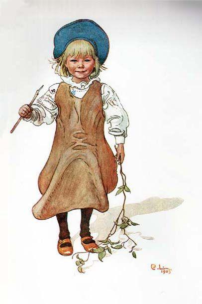"""Esbjorn Fishing"" - by Carl Larsson, (1953-1919, Swedish)"