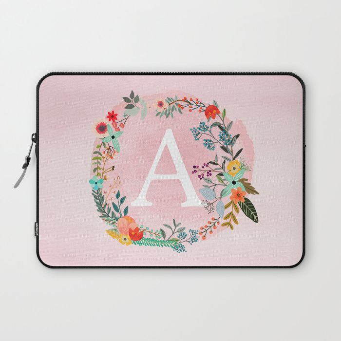 Flower Wreath with Personalized Monogram Initial Letter A on Pink Watercolor Paper Texture Artwork Laptop Sleeve