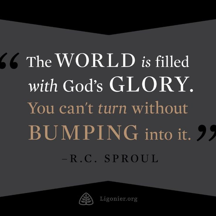 The world is filled with God's glory. You can't turn without bumping into it. —RC Sproul #reformed #reformedtheology pic.twitter.com/WLsEBnpYcD