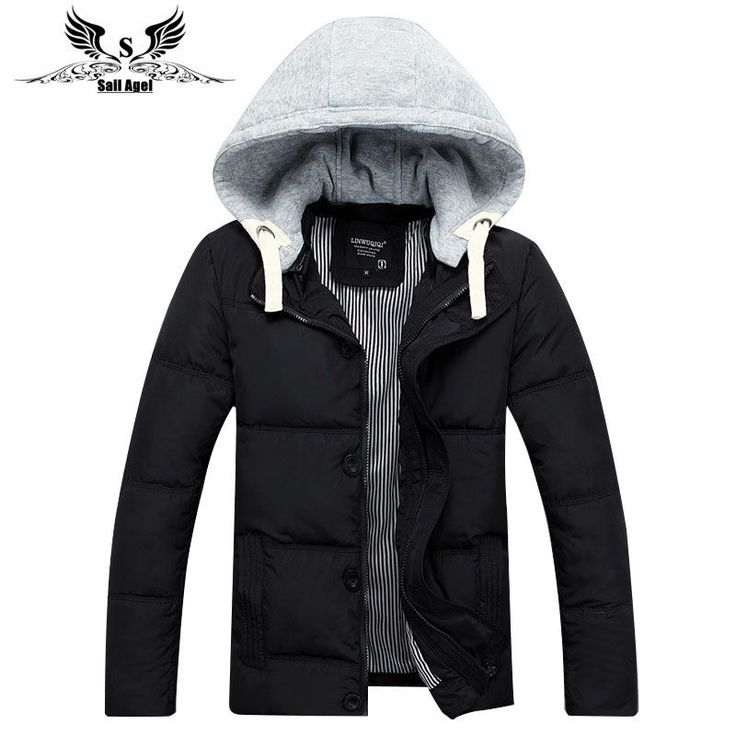 2016 mens winter warm downs jacket brand Thick cotton hat can be men down parka coat black Outdoor fashion sport hooded