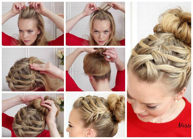 Triple French Braid with Double Waterfall Hairstyle
