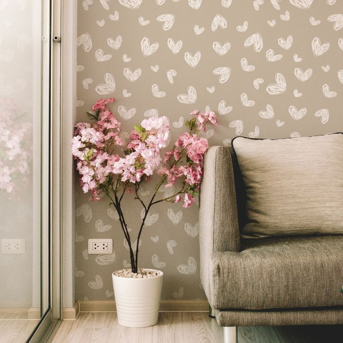 Sketched Hearts In 2020 Removable Wallpaper Peel And Stick Wallpaper Wallpaper Calculator