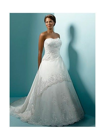 Plus Size Wedding Dresses with Color | Home > Wedding Dresses > Plus Size > A-Line Strapless Dropped Waist ...