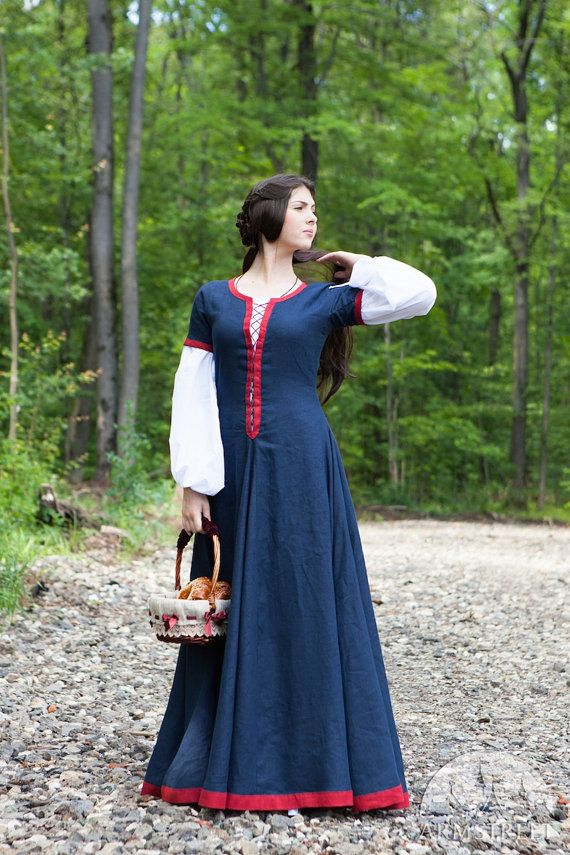 Medieval Womens Flax Dress Forget me not Fantasy by armstreet