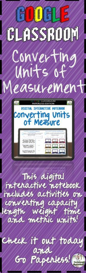 Google Classroom Converting Units of Measure Digital Interactive Notebook -     This Digital Interactive Notebook provides students with exercises that will help them learn about converting between different units of measure. This notebook includes conver