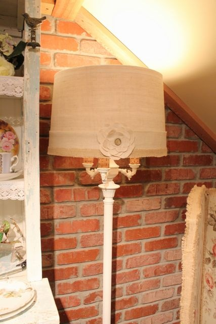 Refinished shabby antique floor lamp