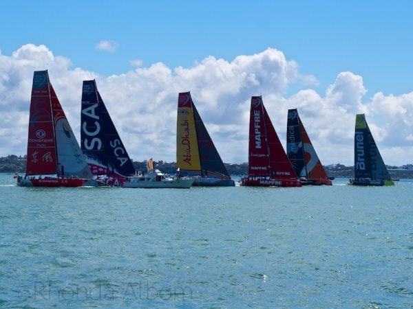 Crossing the start line at the Pro-Am during the New Zealand stop over of the Volvo Ocean Race around the world.