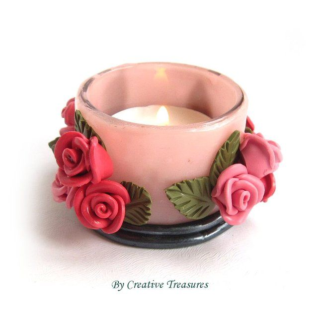 Pink Roses Polymer Clay Tea light Holder £8.50