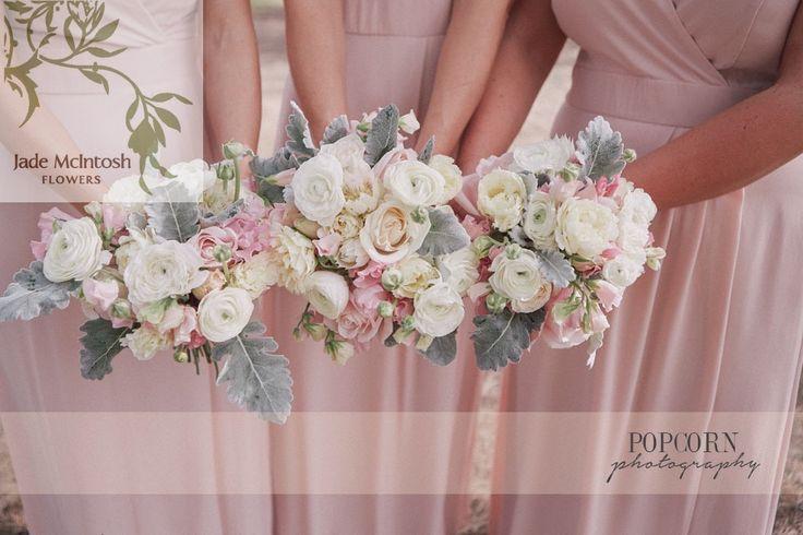 bridesmaids spring posies of ranuncula's, double tulips, dusty miller, sweet pea www.popcornphotography.com.au www.jademcintoshflowers.com.au
