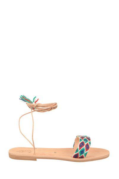 Sandales cuir détail brodé Katerina Multicolre Elina Lebessi sur MonShowroom.com