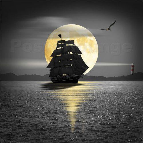 Poster ein schiff mit schwarzen segeln red accentswhite printsromanticwall artposterprintingblack