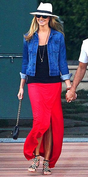 You, too, can wear a bright maxi a la Stacy Keibler - look how effortless all these pieces look together.