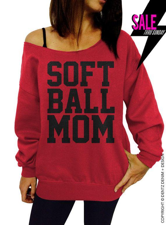 Softball Mom - Red Slouchy Oversized Sweatshirt by DentzDesign http://ift.tt/1KmpZ8J #summer