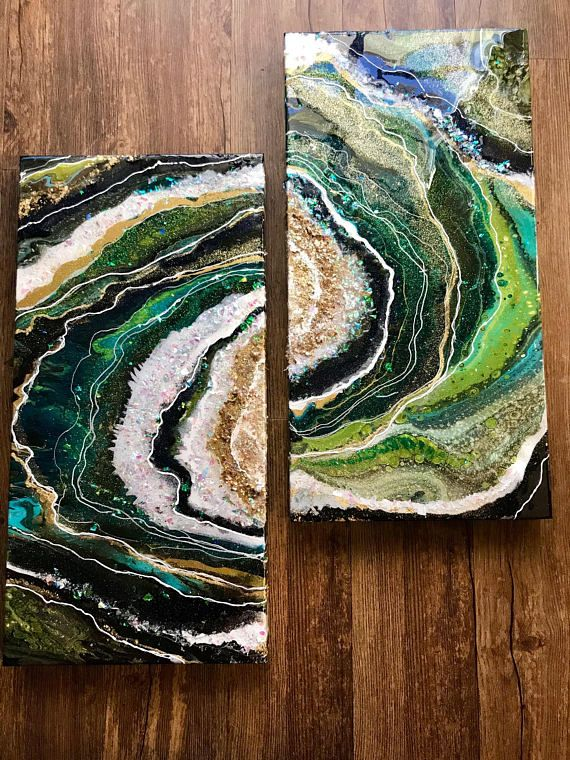 "This is a one of a kind original geode inspired painting on two sturdy 12"" x 24"" canvas panels. It has many layers of paint, gold leaf and resin and has a wonderful weight and texture. I love the organic feel of fluid artwork and the way it often looks like polished stone. This painting"