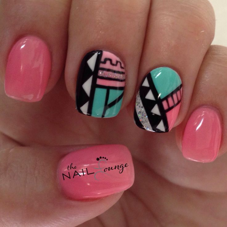 Tribal geometric aztec nail art design