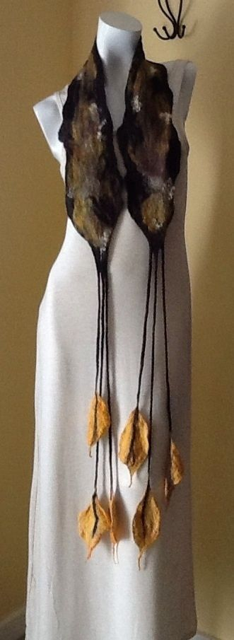 Nuno Felt scarf, wool and silk neck warmer scarf OOAK #BSAFshion #Scarf