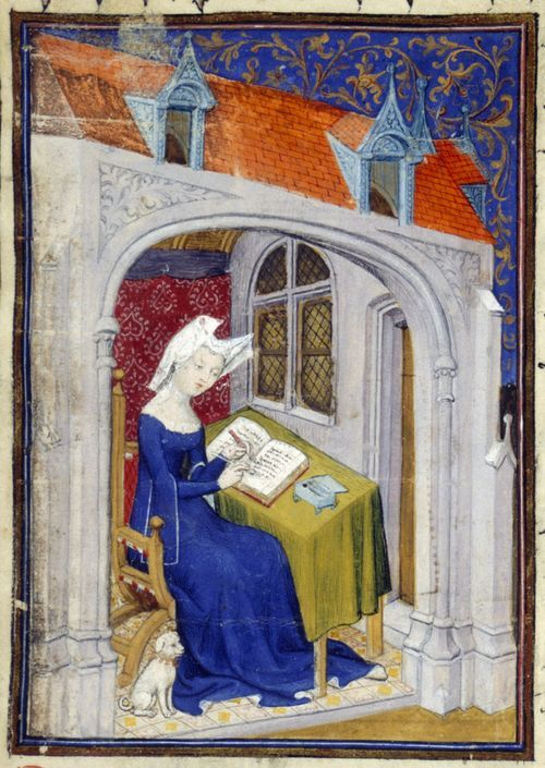 "Christine de Pizan in her study. From 'Cent balades' in Harley MS 4431 f. 4r, ""The Book of the Queen,"" c. 1410-14 (France - Paris), made for Isabeau of Bavaria, Queen of France. Probably presented to her as a New Year's gift, Jan 1414. Later owned by John, Duke of Bedford; his wife, Jacquetta of Luxembourg; her son by her 2nd husband, Anthony Woodville, 2nd Earl Rivers; Louis de Gruthuyse; Henry Cavendish, 2nd duke of Newcastle"