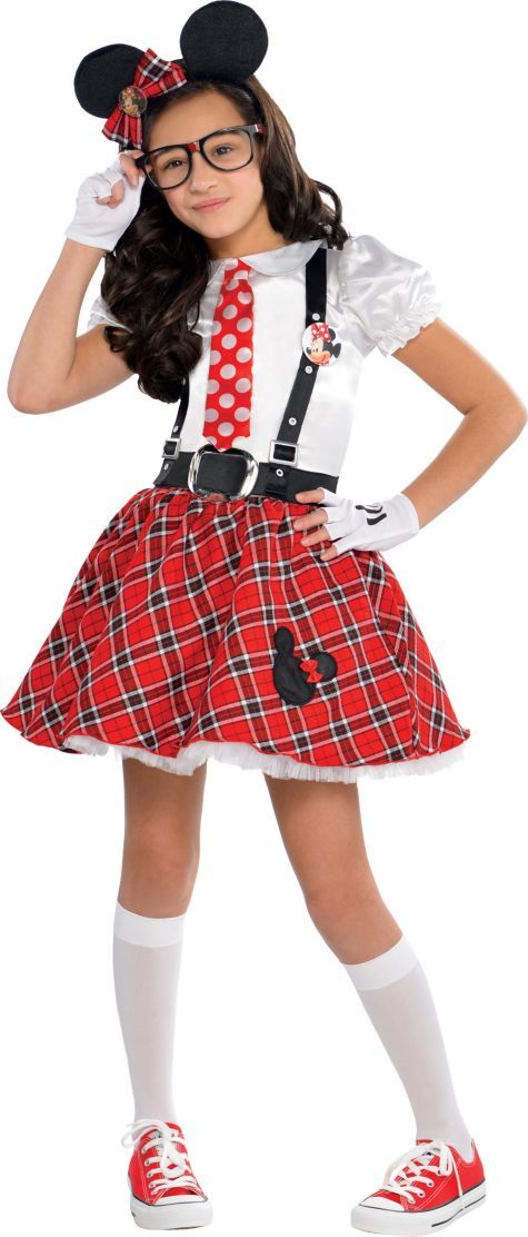 Girls Minnie Mouse Nerd Costume - Party City
