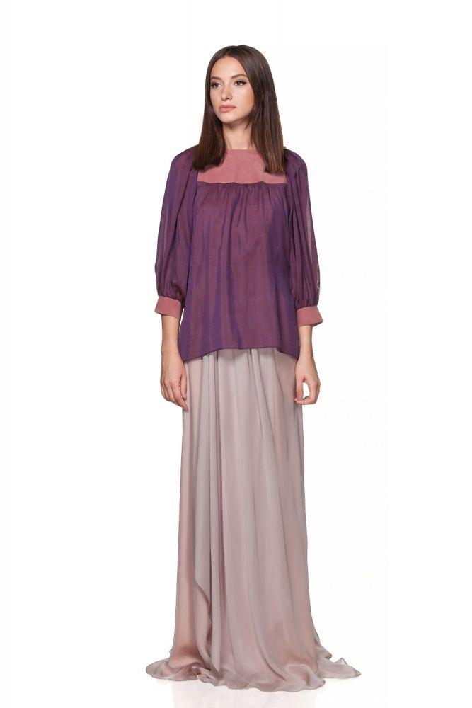 Maria Alina Margulescu – Borangic Purple shirt with coloured  leather