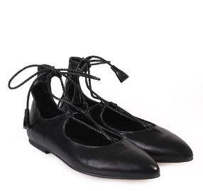SAGIAKOS Women's Black Leather Laced-Up Ballet Shoes. Γυναικείες μαύρες δερμάτινες δετές μπαλαρίνες.