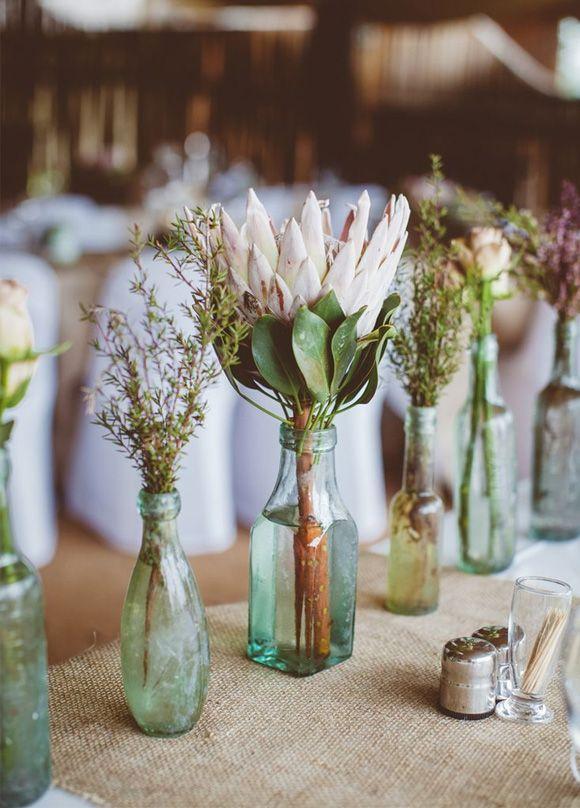 Flores de boda Protea: botella cristal