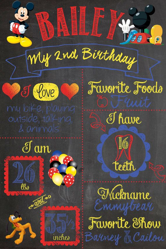 Mickey Mouse Club House Second First Birthday Chalkboard Sign