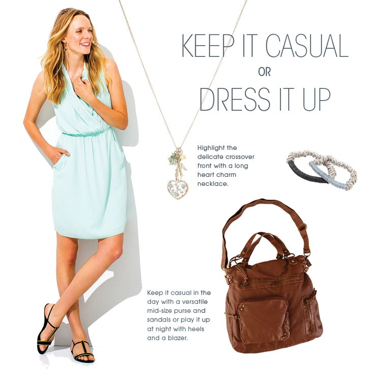 Dressy mint dress paired with a casual brown purse