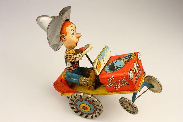 1930s Unique Art Rodeo Joe Windup Tin Toy Crazy Car