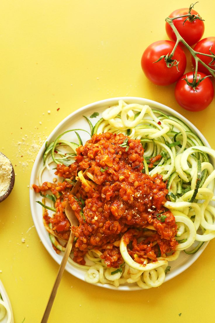 A hearty red sauce with lentils and carrots over zucchini noodles! A flavorful, healthy, 30-minute plant-based meal.