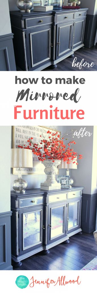 How to Make Mirrored Furniture with Contact Paper | DIY Mirror Ideas | Adding Mirrors to Furniture | Dining Room Ideas by Magic Brush