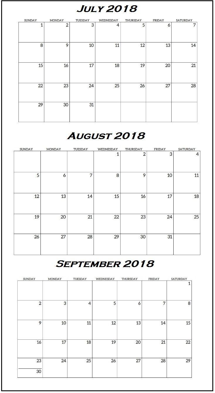 3rd quarter 2018 calendar