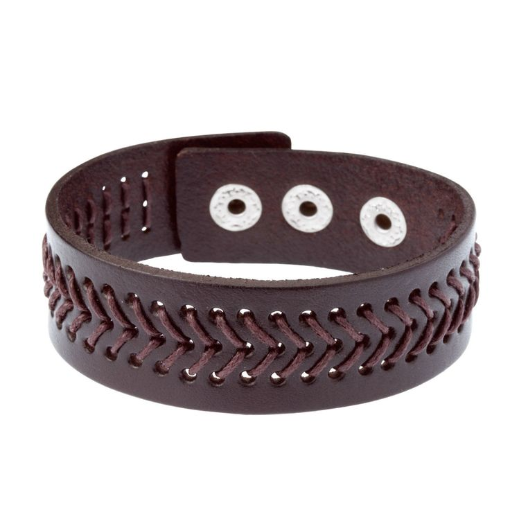 Mens Brown Leather Wristband Bracelet Cuff by WRCDesigns on Etsy
