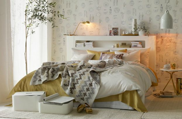 Smart and Elegant Bedroom Decorated with White and Gold