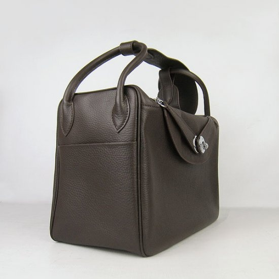 Hermes Lindy 34 bag clemence leather dark coffee silver ...