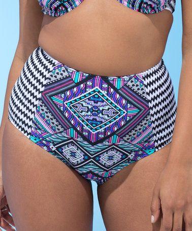 Purple Geometric Celebrity High-Waist Bikini Bottoms - Plus Too #zulily #zulilyfinds