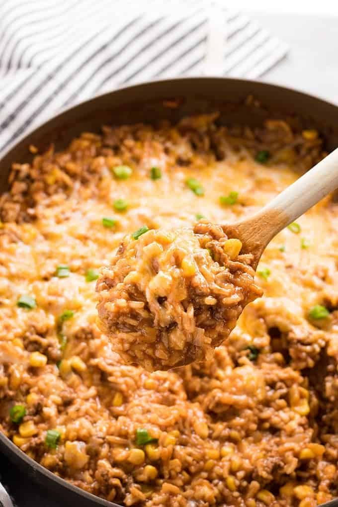 One Pot Mexican Rice Casserole The Salty Marshmallow Recipe Mexican Rice Casserole Mexican Rice Rice Casserole