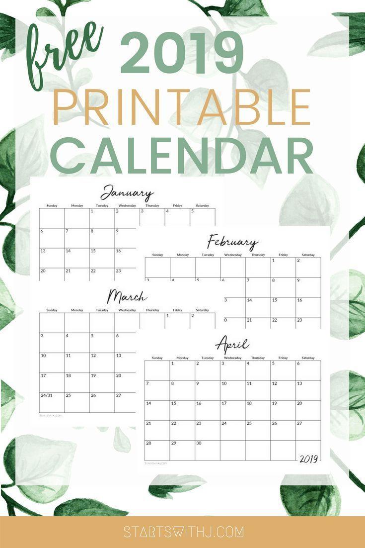 Free 2019 Printable Calendars Free Printable Calendar Calendar