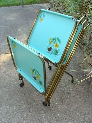 Vintage Set of 4 Mid-Century Atomic Aqua Folding Metal TV Tray Tables w/Stand