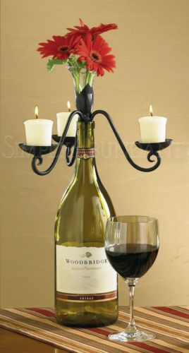 Wine Bottle Topper with removable glass vase. Natural iron, holds 3 votive candles.