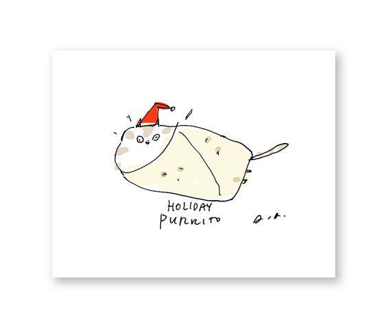 Holiday Purrito Card Funny Christmas Card Cat by jamieshelman