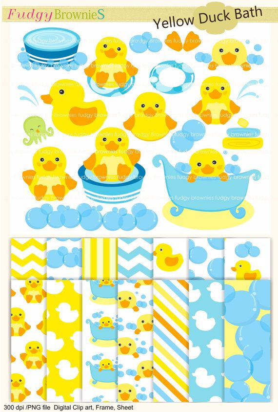 Clip art and digital paper pack,duck bath toy MS 07,invites,little duck clip art,yellow duck,baby cute duck clip art ,INSTANT DOWNLOAD
