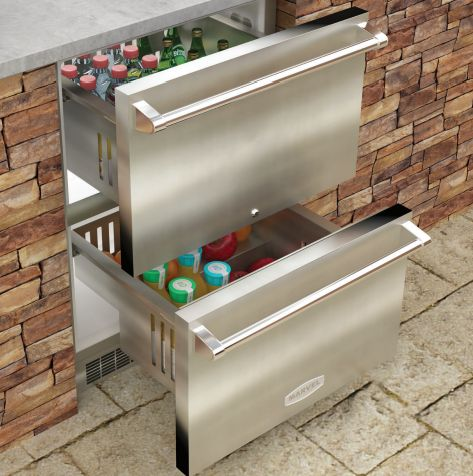 Marvel Outdoor Refridgerator Drawers-Stainless Steel-MO24RDS3NS  Outdoor refrigerated drawers offer maximum capacity within easy reach, rapid cool down and the industry's most even temperature stability.